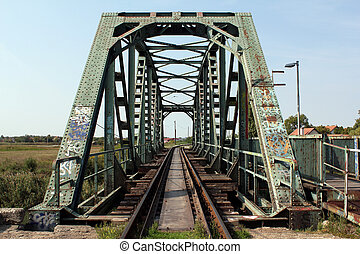 old steel railway bridge close up