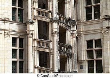Espiral, escalera, Chambord, castillo, Loire, Valle, francia