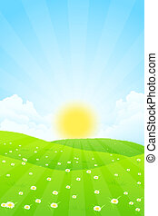 Green Landscape with Sun