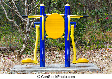 exercise equipment - colorful exercise equipment in public...