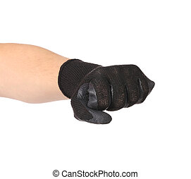 Hand in black protective glove Isolated on a white...