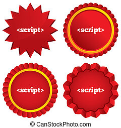 Script sign icon Javascript code symbol Red stars stickers...