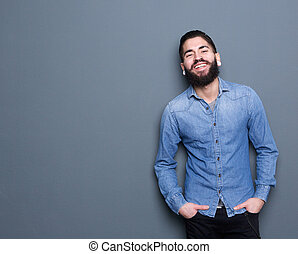 Smiling man with beard - Portrait of a smiling man with...
