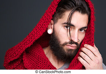 Male fashion model with scarf