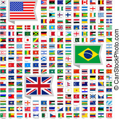 219 flags - 219 Flags of world, flat vector illustration,...