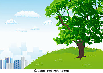Tree with city panorama - Green Tree with city panorama and...