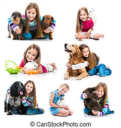 little girl with pets - collection of photos of a little...