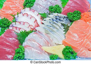 mezclado, sashimi, crudo, pez