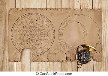mapas, antigas, compasso