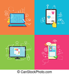 Online Technology - illustration of flat style online...