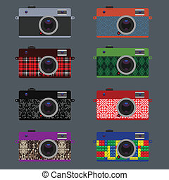 Set of Retro Cameras, hipster style, vector Eps10...