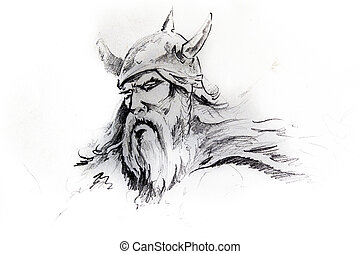 Viking head, sketch of tattoo - Handmade tattoo sketch over...