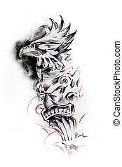 Totem, sketch of tattoo - Handmade tattoo sketch over white...