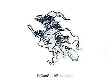 witch flying on a broom, sketch of tattoo - Handmade tattoo...