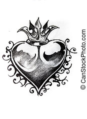 Heart sketch of tattoo - Handmade tattoo sketch over white...