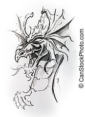 Dragon, sketch of tattoo - Handmade tattoo sketch over white...