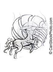 tatouage, croquis,  centauro, Cheval