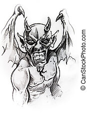 Gargoyle, sketch of tattoo - Handmade tattoo sketch over...