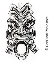 American indian totem, sketch of tattoo - Handmade tattoo...