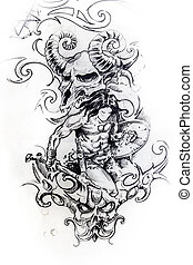 Viking warrior, sketch of tattoo - Handmade tattoo sketch...