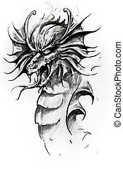 Dragon head, sketch of tattoo - Handmade tattoo sketch over...