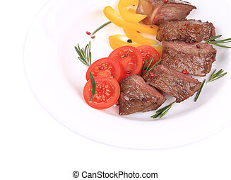 Beef steaks with rosemary.