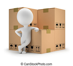 3d small people - delivery goods - 3d small person standing...