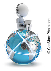 3d small people - global network - 3d small person sitting...