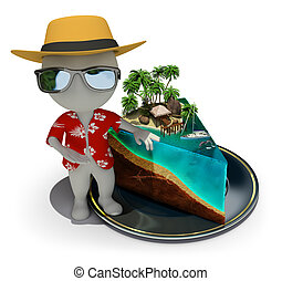 3d small people - piece of paradise - 3d small person -...