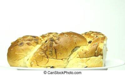 Easter yeast bun on turn table