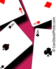 Four aces on color background,2D illustration