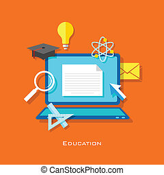 e learning Concept - illustration of e learning concept in...