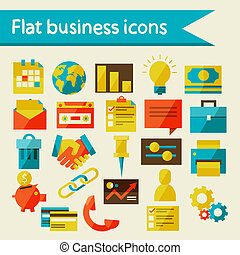 Flat business icons, vector illustration, eps 10