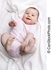 bebê, sorrindo,  câmera