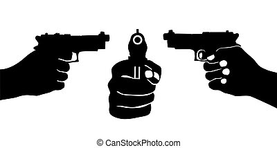 hand with gun vector illustration