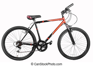 Mountain bicycle bike isolated on a white background with...