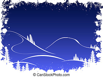 Grunge winter background with fir-tree snowflakes and santa
