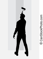 Man painting walls vector