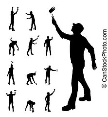 Man painting walls vector illustration