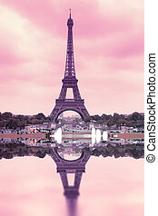 Eiffel Tower - pink Eiffel Tower in Paris, France