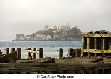 Alcatraz Federal Penitentiary in the San Fransisco Bay,...