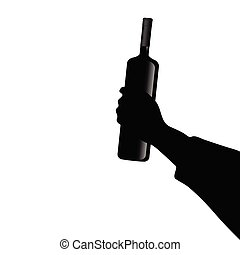 bottle of wine in hand vector illustrtion