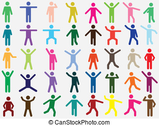 Human pictogram in different colors - Set of active human...