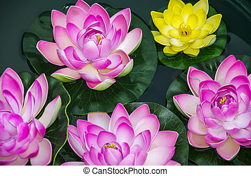 Artificial lotus flowers in pond.