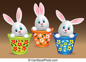 Happy Easter - For happy easter, rabbit-eared eggs in pot....