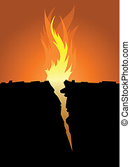 Fire Crevice - Flames emerge from a sharp crevice in the...