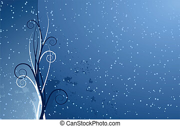 Abstract seasonal background with scrolls