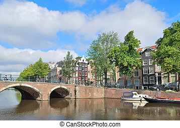 Amsterdam Bridge across the canals - Amsterdam Bridge at the...