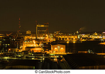 Eastbank Port - The Eatsbank Port in Kiel at Dawn/Night