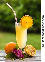 Orange juice - Fresh and colorful orange juice in a glass